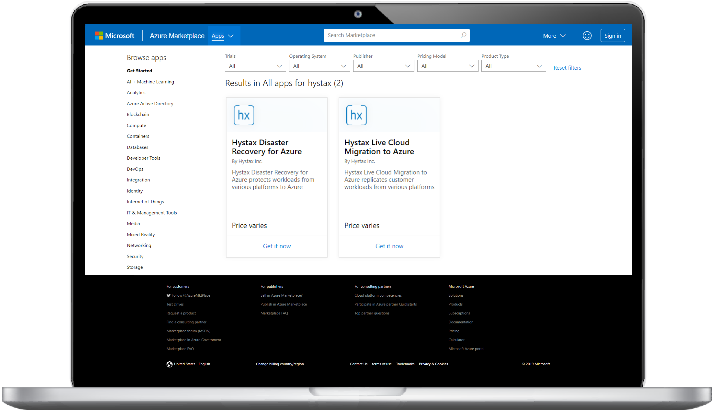 Hystax's solutions on MS Azure marketplace
