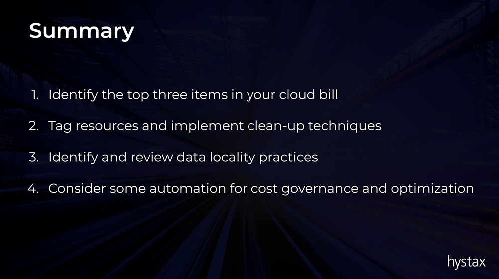 Cloud cost optimization summary