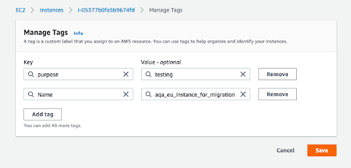 AWS tagging - section Instances