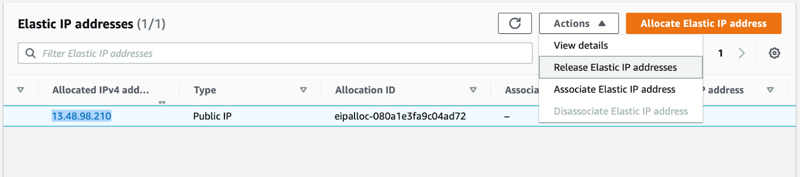 Elastic IP addresses Amazon EC2