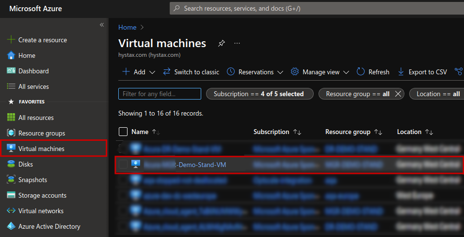 Tags MS Azure console VM